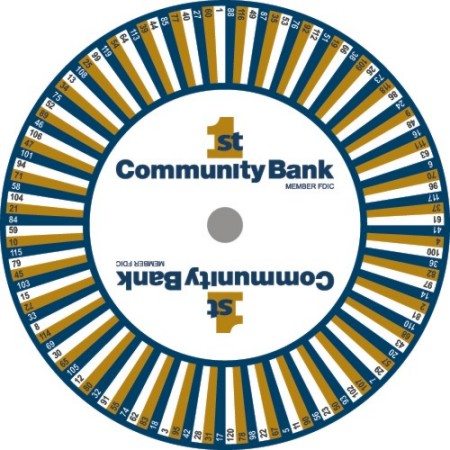 Custom Prize Wheels like this 1st Community Bank Prize Wheel